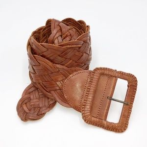 Chunky Leather Woven Belt